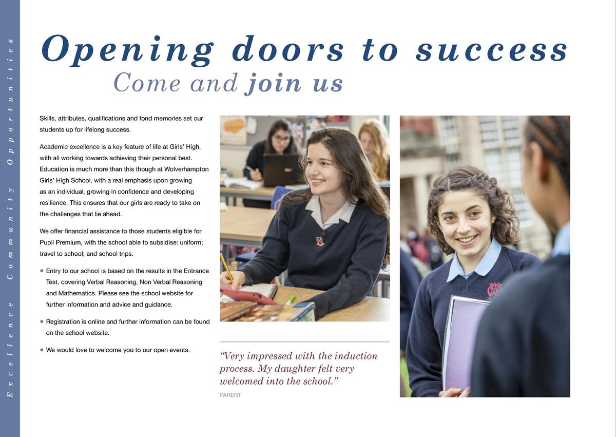 O p p o r t u n i t i e s  Opening doors to success  Wolverhampton Girls  High School  Come and join us  Skills, attribute...