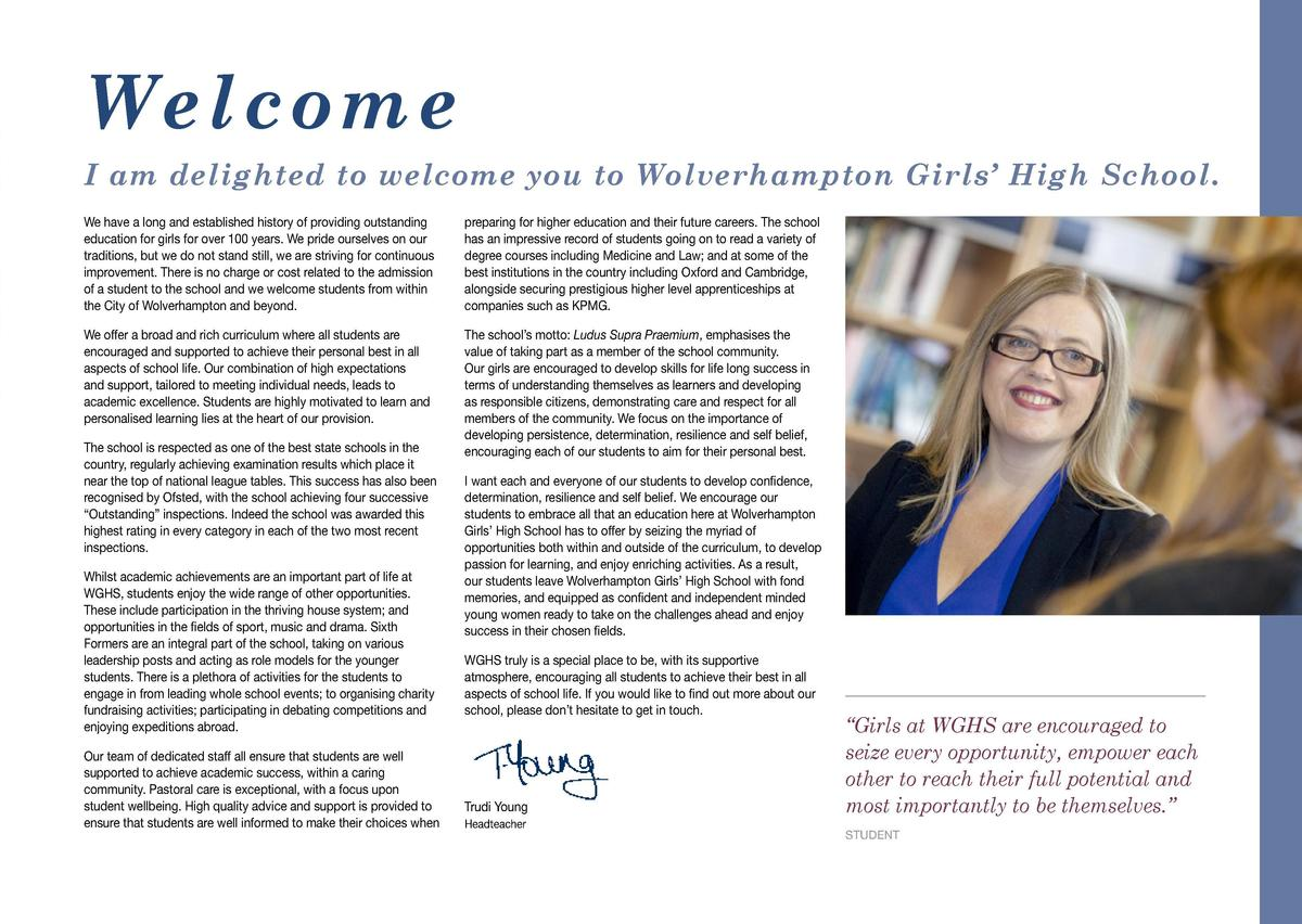O p p o r t u n i t i e s C o m m u n i t y E x c e l l e n c e  Welcome I am delighted to welcome you to Wolverhampton Gi...