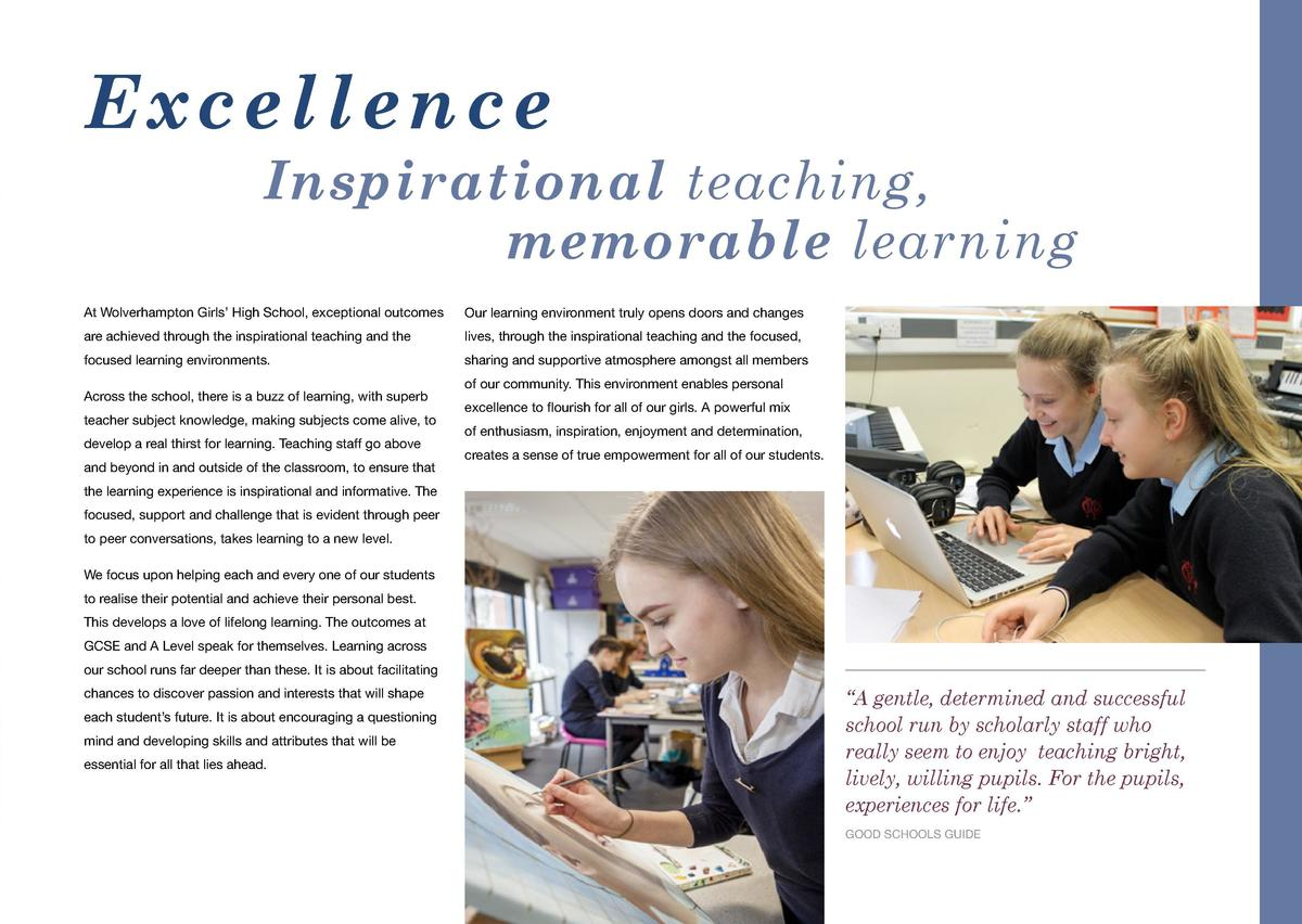 O p p o r t u n i t i e s C o m m u n i t y  Excellence Inspirational teaching, memorable learning At Wolverhampton Girls ...
